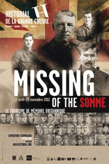 """Affiche de l'expo """"Missing of the Somme"""" réalisée pour l'Historial de la Grande Guerre à Péronne"""